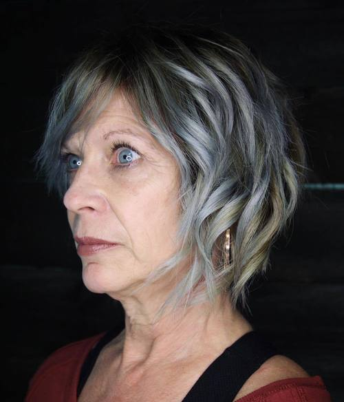 short silver balayage hairstyle for older women