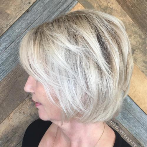 Chin-Length Layered Blonde Balayage Hair