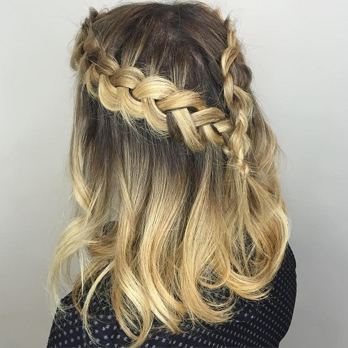 Half Updo With Two Braids