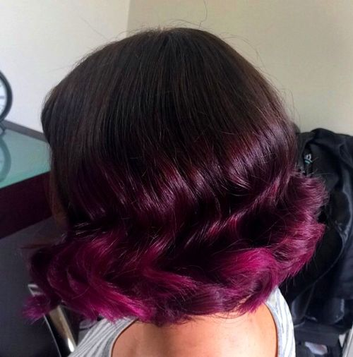 burgundy ombre bob for thick hair