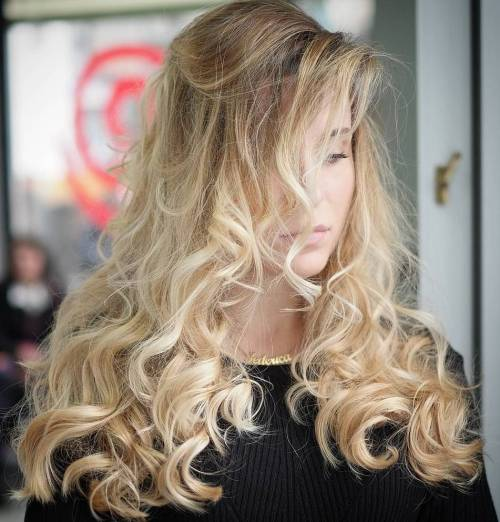 Curly Blonde Balayage Hair