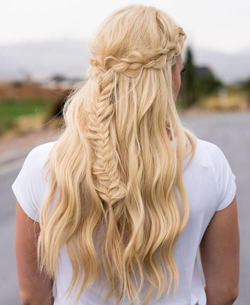 half updo with crown braid and fishtail