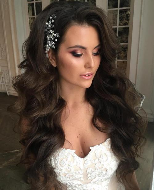 long hair down wedding styles 40 gorgeous wedding hairstyles for hair 1296 | 7 wedding long wavy hairstyle