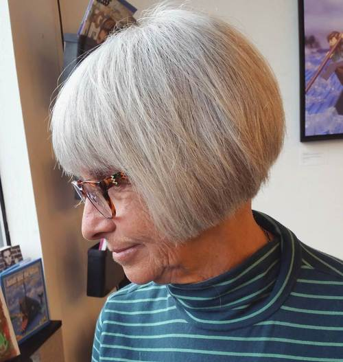 gray bob with bangs for older women