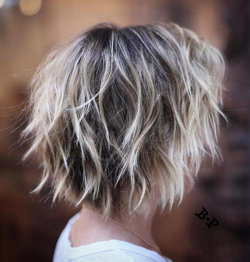 Short Shaggy Blonde Balayage Hair