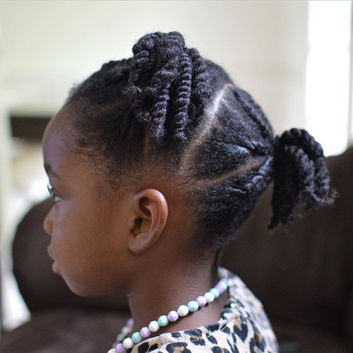 twists and ponies girls hairstyle for natural hair