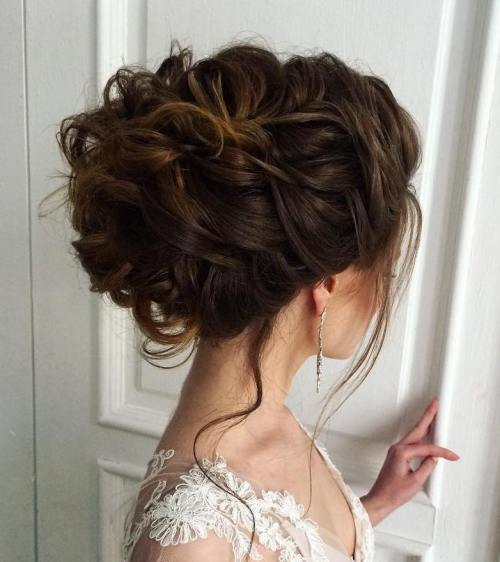 40 chic wedding hair updos for elegant brides curly updo for thick hair junglespirit Choice Image