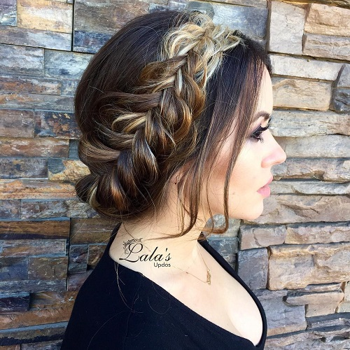 Loose Updo With Messy Crown Braid