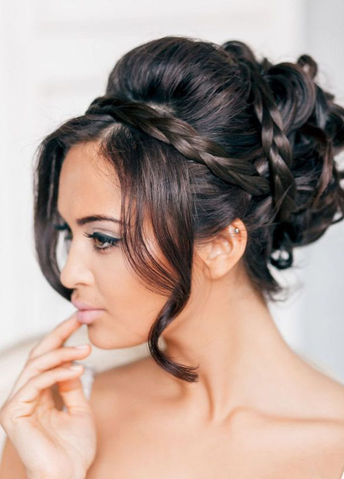 40 irresistible hairstyles for brides and bridesmaids voluminous updo for bridesmaid junglespirit Gallery