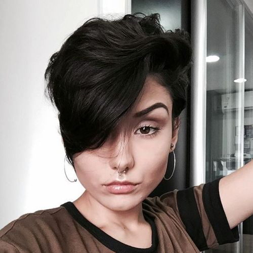 Wavy Brunette Pixie With Long Bangs