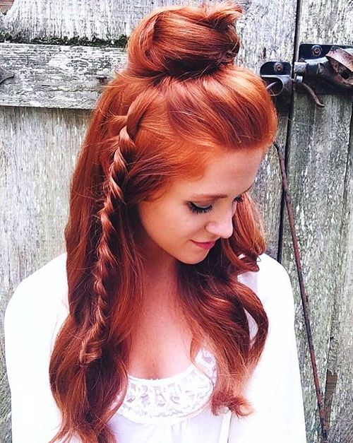 half up bun updo for long thick hair