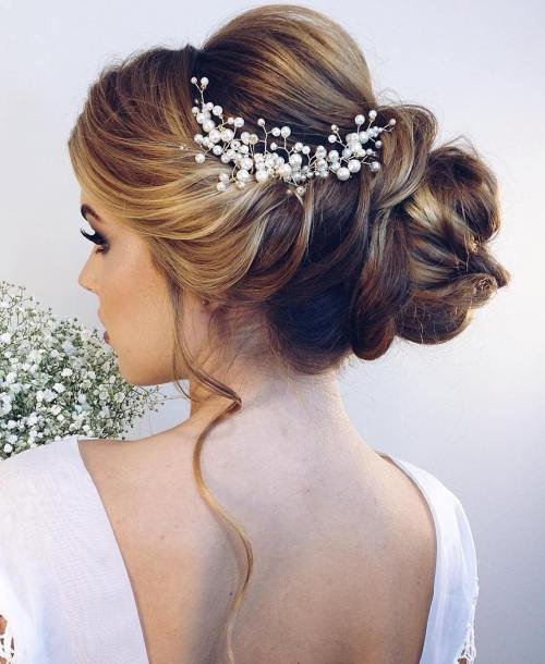Bridal Bun With Twists For Long Hair