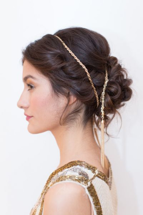 Greek style updo for beach wedding