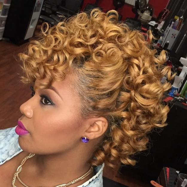 African American Curly Blonde Mohawk