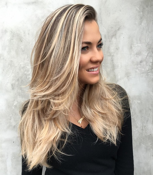Long Blowout Hairstyle For Layered Hair