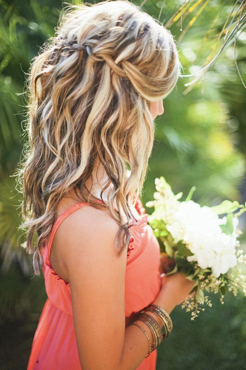 medium braided hairstyle for bridesmaids