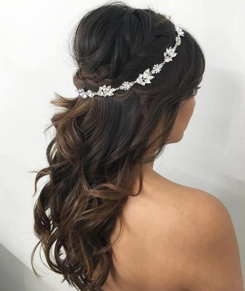 Wavy Bouffant Half Updo For Wedding