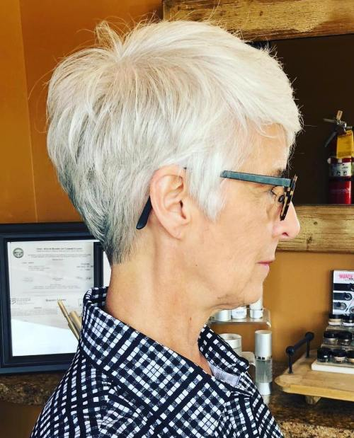 Layered Gray Pixie For Seniors