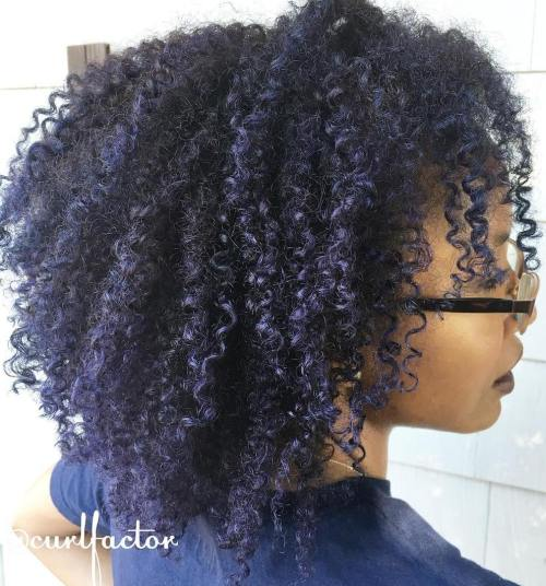 Natural Black Hairstyle With Blue Highlights