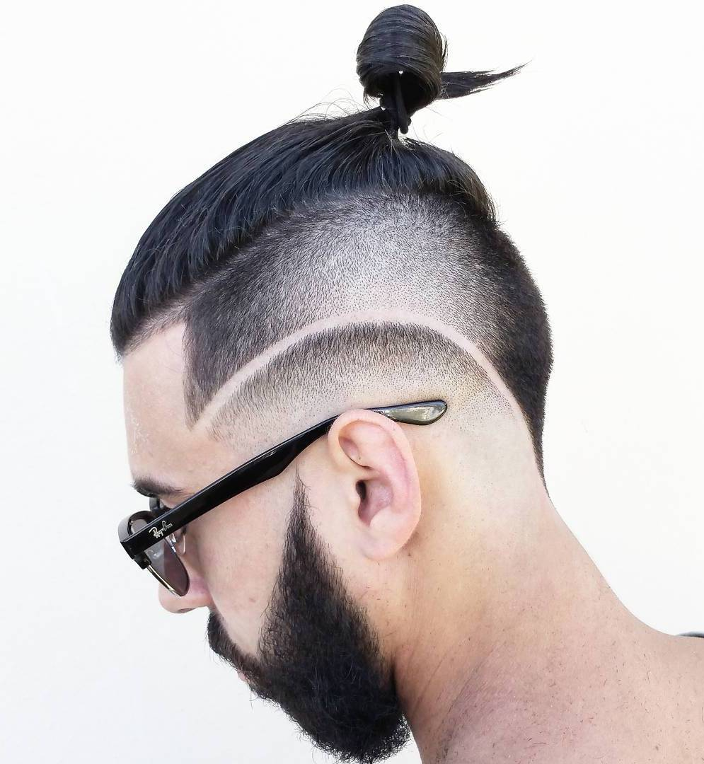 Men Bun With Side And Nape Undercut