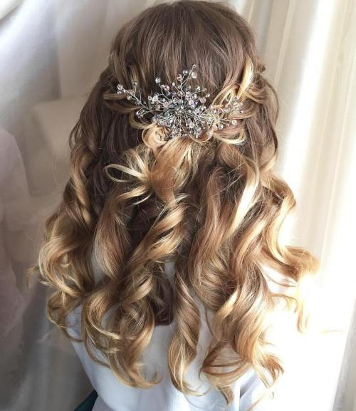 Remarkable Half Up Half Down Wedding Hairstyles 50 Stylish Ideas For Brides Short Hairstyles For Black Women Fulllsitofus
