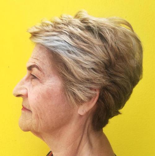 70+ Feathered Blonde Balayage Pixie