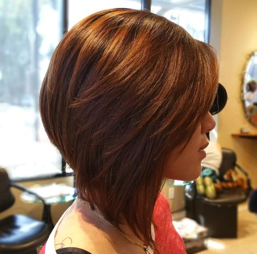 layered angled auburn bob for teen girls
