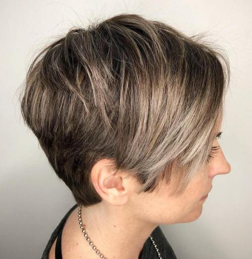 Choppy Bronde Pixie With Long Bangs