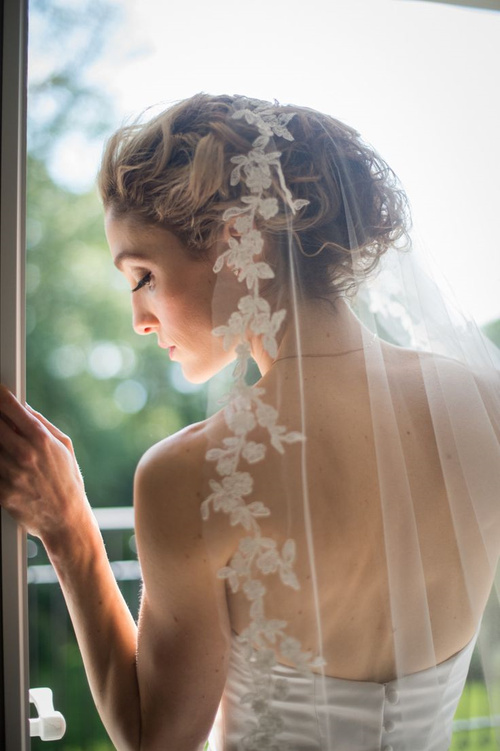 beach wedding updo with a veil