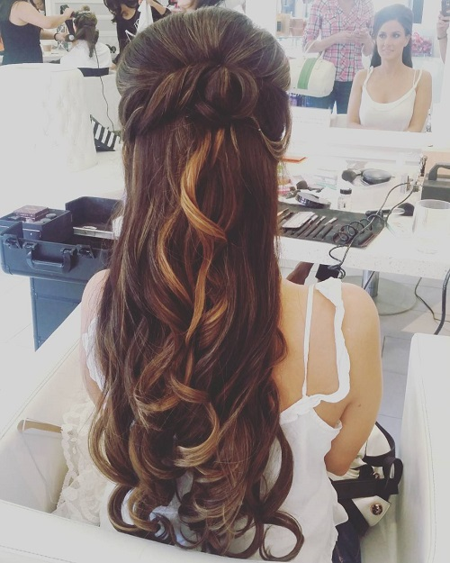 long hair down wedding styles half up half wedding hairstyles 50 stylish ideas 1296 | 19 half up long wedding hairstyle