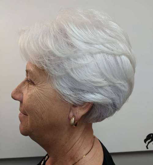 Feathered Short Hairstyles For Women Over 70