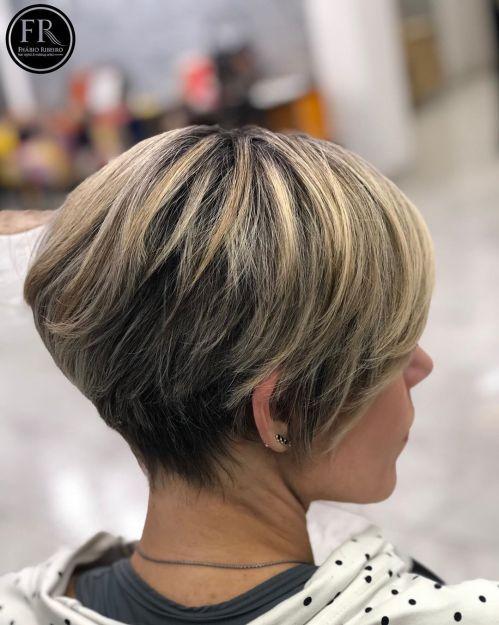 Bronde Pixie Bob Haircut For Thick Hair