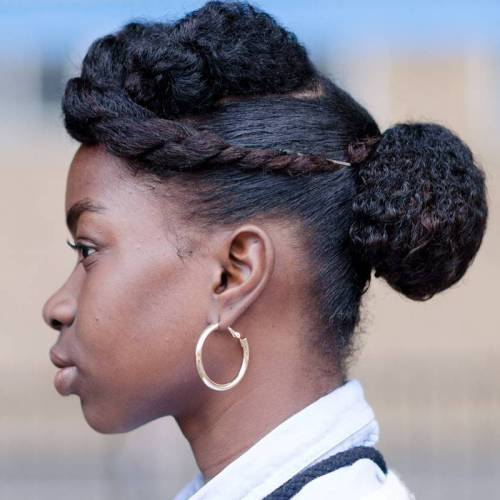 African American Natural Hairstyles 20 short spiky hairstyles for women Bun And Twist For Shorter Natural Hair