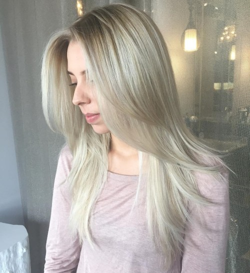 Long Layered White Hairstyle With Ash Blonde Roots