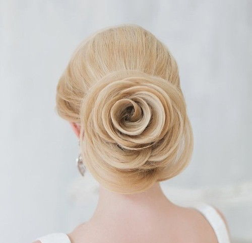 rose low updo for brides