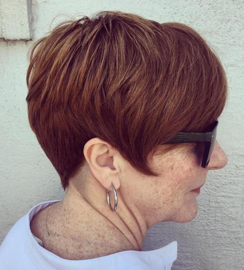 Feathered Auburn Pixie for Older Women