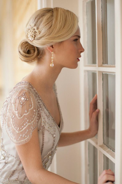 Wedding dresses for late 30s long hair