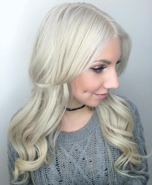 Long Silver Blonde Hairstyle