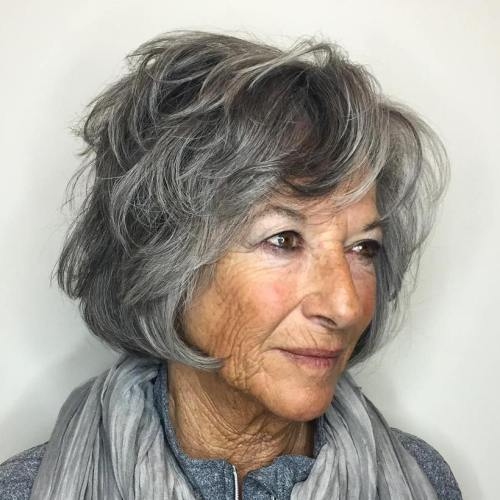 Salt And Pepper Bob For Older Women