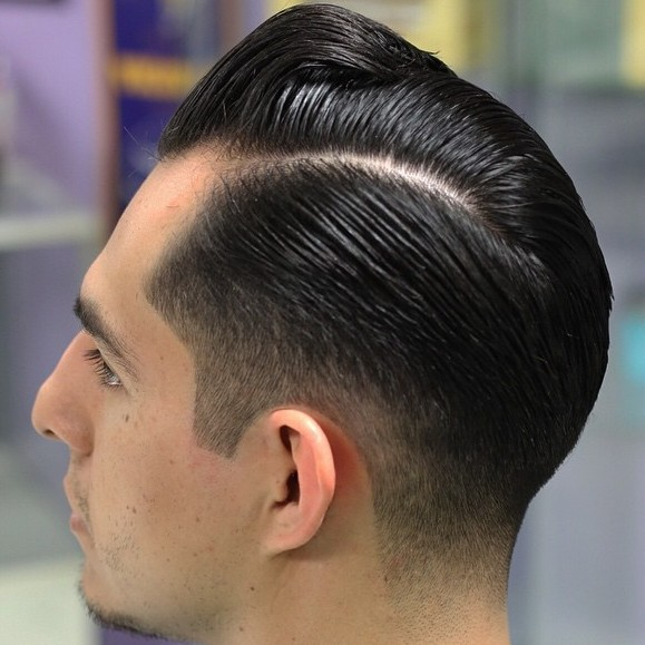 Side Parted Sleek Fade Hairstyle