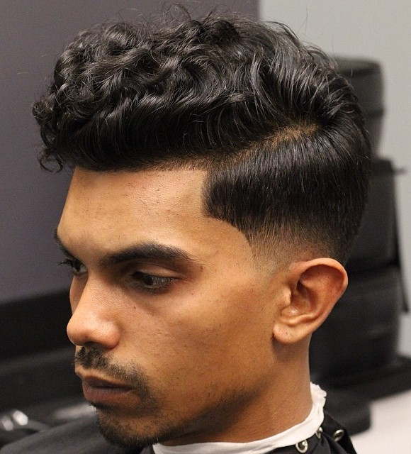 Curly Top Low Fade Hairstyle