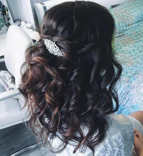 Wedding Curly Dark Brown Half Updo