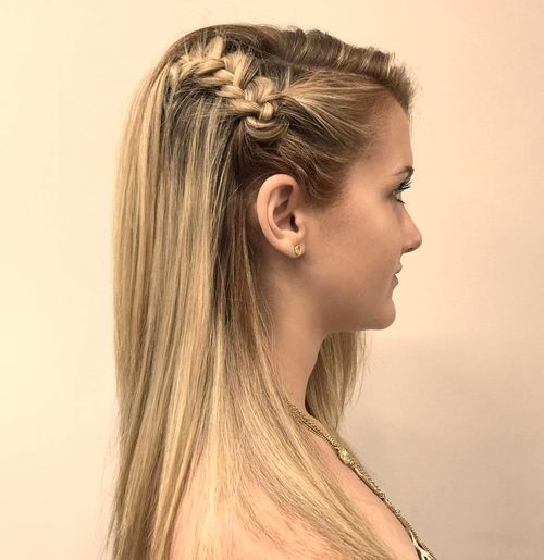 asymmetrical braided half updo for teenage girls