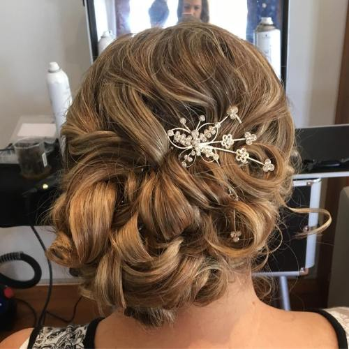 Curly Loose Asymmetrical Updo