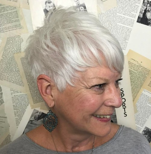 Older Women's Silver Pixie Hairstyle