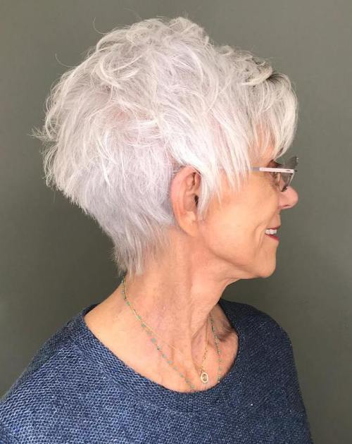 Textured Silver Pixie For Older Women