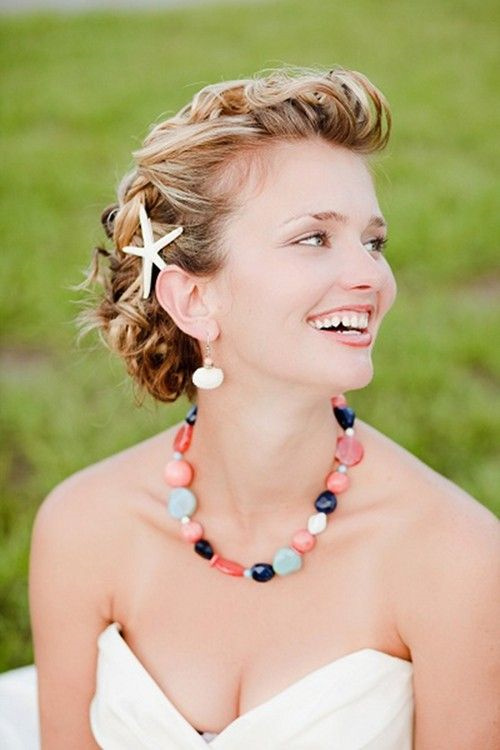curly updo for beach wedding