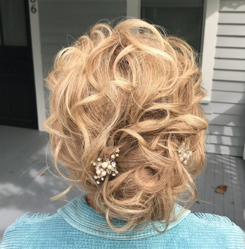 Formal Tousled Curly Updo Hairstyle