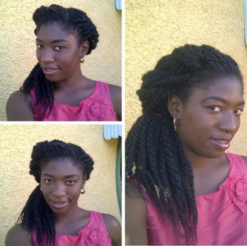 cute side hairstyle for black twists