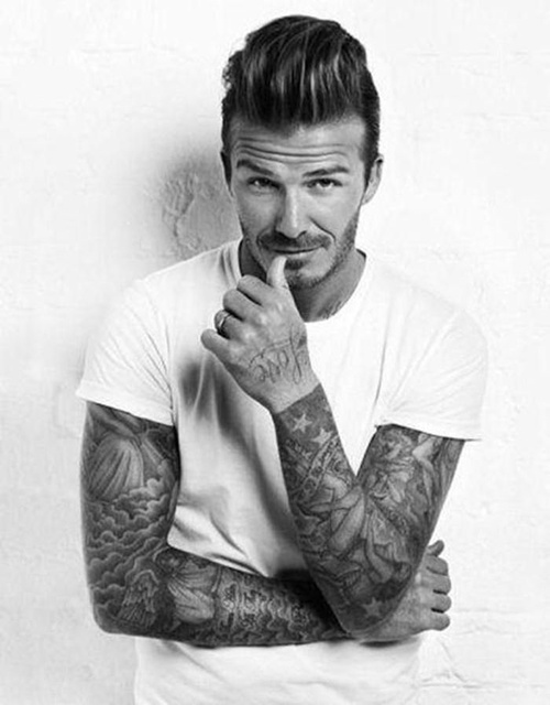 David Beckham short pompadour hairstyle